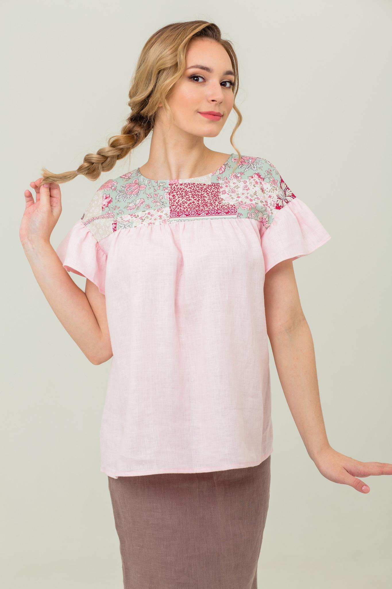Блуза льняная русская народная Сладкая ваниль