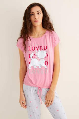 Піжама з принтом «Кішечка Марі», зі штанами капрі