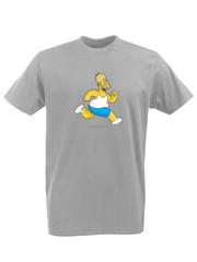 Футболка с принтом мультфильма Симпсоны (The Simpsons) серая 007
