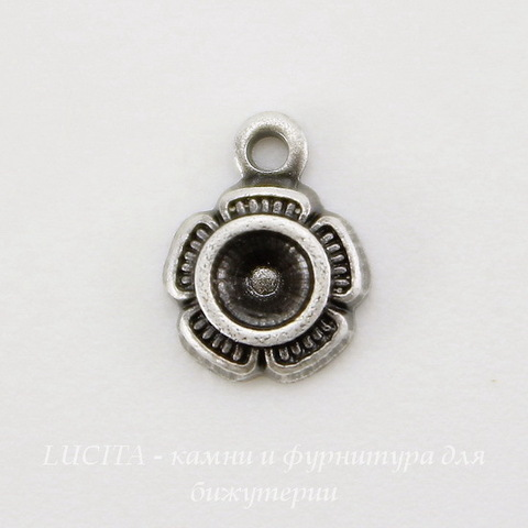 """Сеттинг - основа - подвеска """"Цветочек"""" для страза 2,5 мм (оксид серебра) ()"""