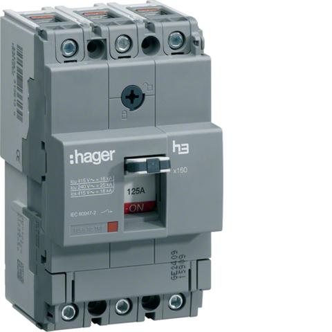 Автоматический выключатель, x160, TM рег.уст.терм., 3P 25kA 160-100A, 440В АС