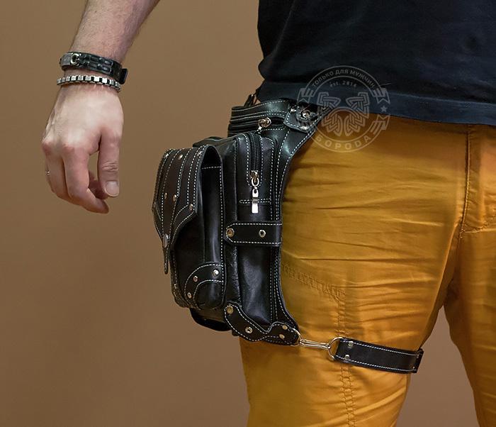 BAG373-1 Мужская сумка на бедро из натуральной кожи, ручная работа фото 02