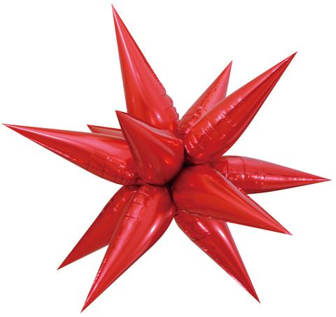 Звезда объемная 3D, красная, 66 см