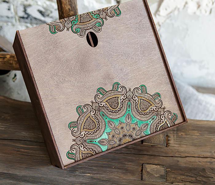 BOX234-3 Подарочная коробка «Мандала» с ручной росписью (25*25*12 см) фото 05