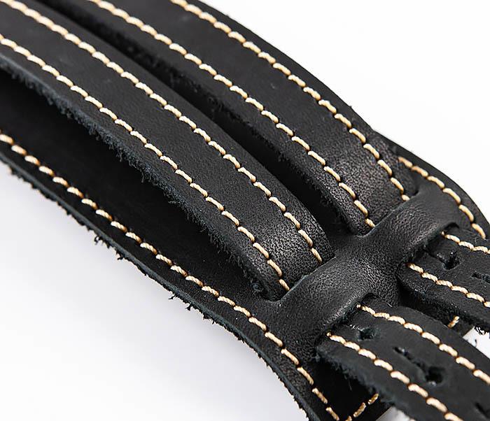 BL391-3 Широкий черный браслет ручной работы из натуральной кожи. «Boroda Design» фото 03