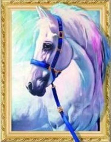 Алмазная Мозаика 5D 40x50 Белый конь с синими поводьями