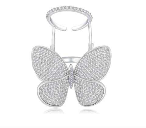 401601- Кольцо c двигающейся бабочкой из серебра с белыми цирконами