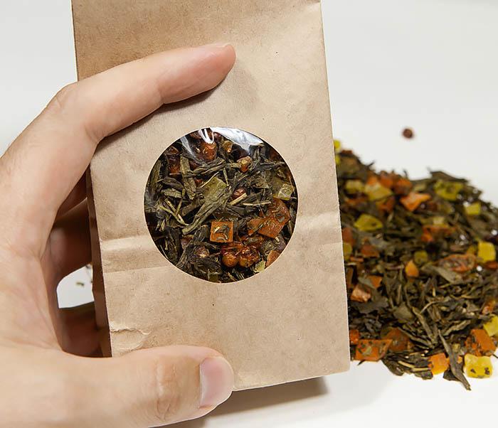 TEA-AR128 Зеленый фруктовый чай «Рыжий Дракон» с облепихой и манго (50 гр) фото 06