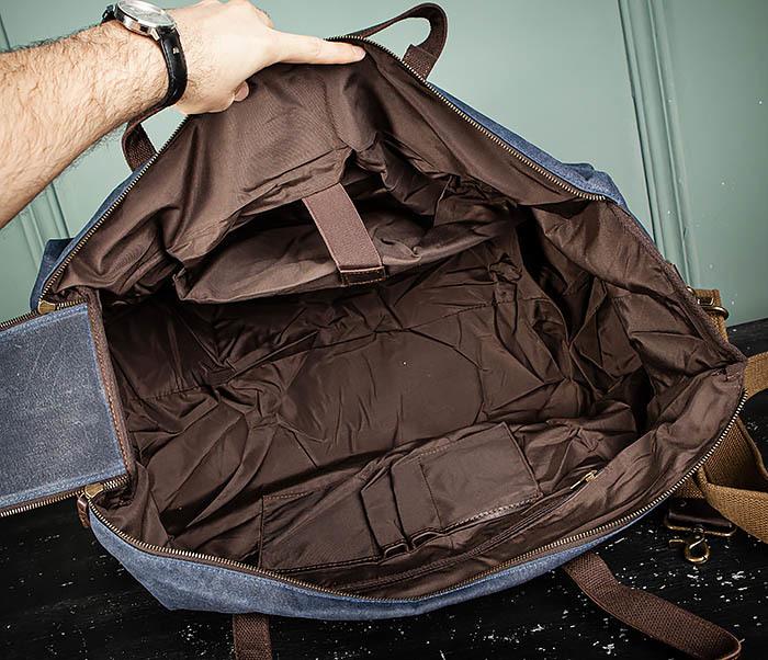 BAG499-3 Большая сумка из ткани синего цвета с ремнем на плечо фото 16