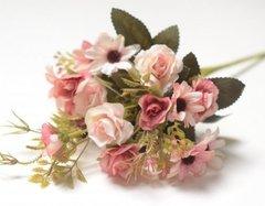 Розы искусственные мини с герберой,  букет 5 веток, 29 см.