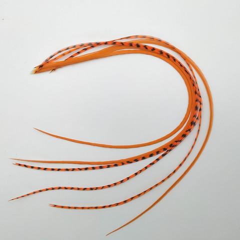 Перья петуха в волосы 30-35 см. 6 шт. (оранж)