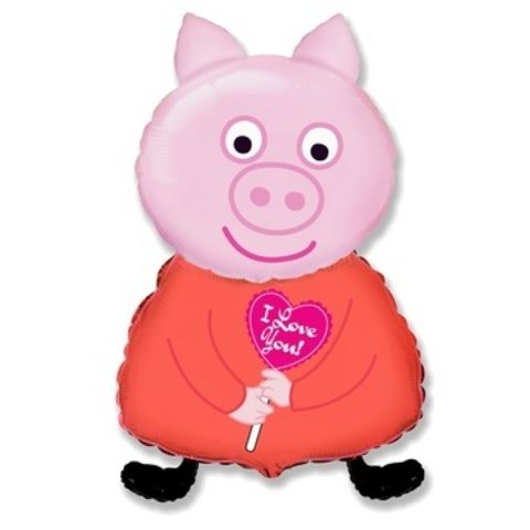 Шар Свинка Пеппа с сердечком ILY