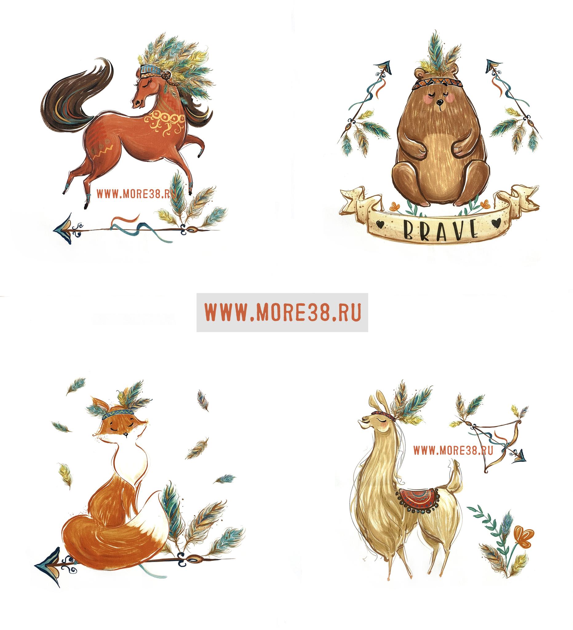 Панель(купон) звери-индейцы(лама,лиса,конь,мишка)-36*36см,4 шт.