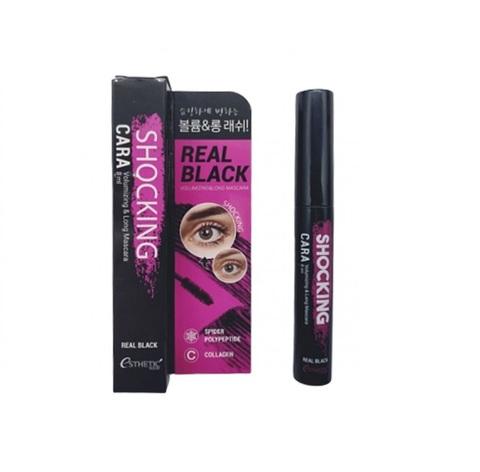 Esthetic House Shocking Cara Volumizing & Long Mascara Real Black тушь для ресниц придающая объем и удлинение
