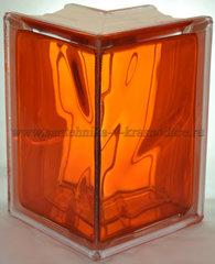 Угловой стеклоблок оранжевый окрашенный изнутри Vitrablok 19x13x13x8