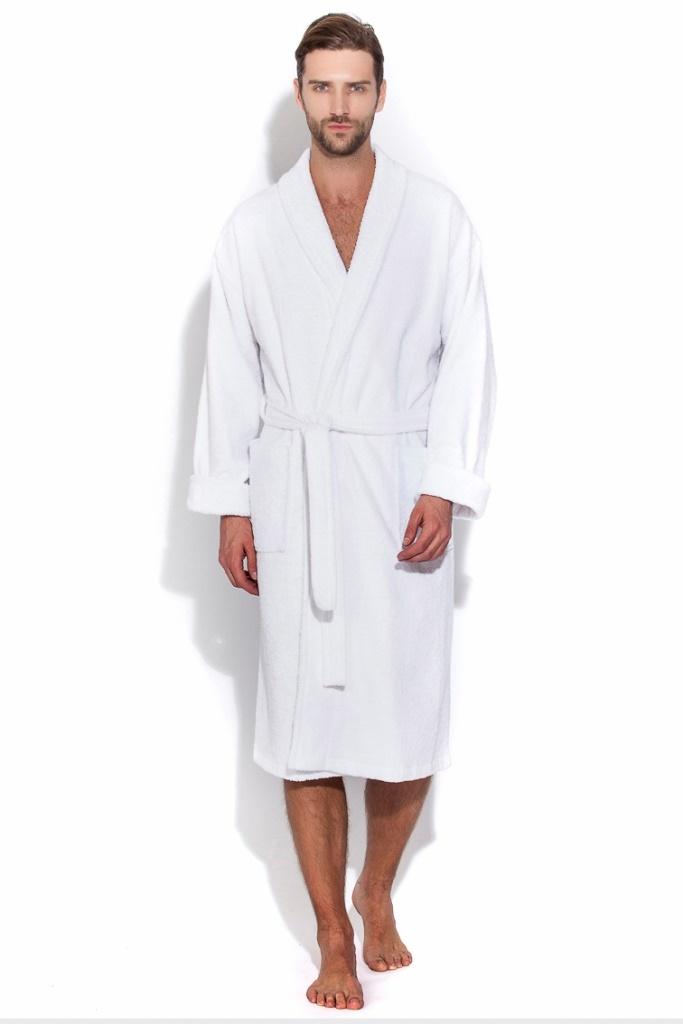 Халаты мужские Махровый банный мужской халат 363  EVAТекс (Россия) 363бел.jpg