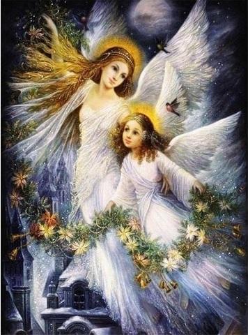 Алмазная Мозаика 40x50 Рождественские ангелы (арт. SGL70742)