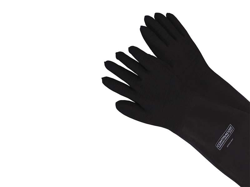 Перчатки резиновые, 800 мм, текстильная подкладка, текстурированные, двуручные(левая=правая), RGA