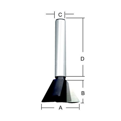 Фреза «ласточкин хвост» 25,4х38х22,2х12 мм; 14 °