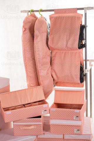 Чехол для длинной одежды с прозрачной половиной, 60*120 см (розовый в горошек)