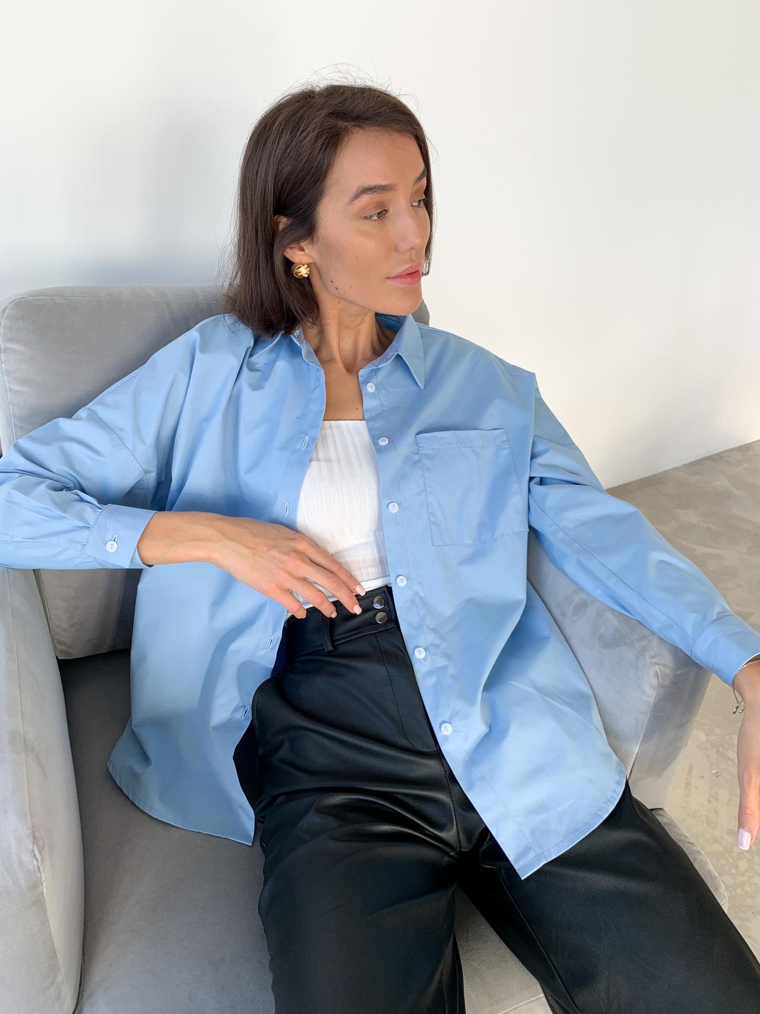 Рубашка из хлопка свободного кроя с карманом  (one size) (голубой)