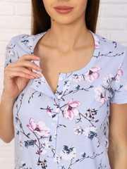 Мамаландия. Сорочка для беременных и кормящих с пуговицами короткий рукав, сакура/голубой