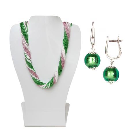Комплект украшений розово-зеленый №2 (серьги-бусины, ожерелье из бисера 36 нитей)