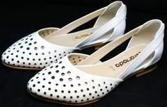 Перфорированные балетки с острым носком Evromoda 286.85 Summer White.