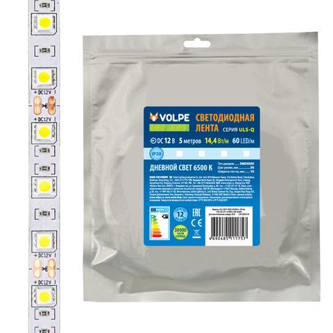 ULS-Q221 5050-60LED/m-10mm-IP20-DC12V-14,4W/m-5M-RGB Гибкая светодиодная лента на самоклеящейся основе. Катушка 5 м. в герметичной упаковке. RGB. ТМ Volpe.