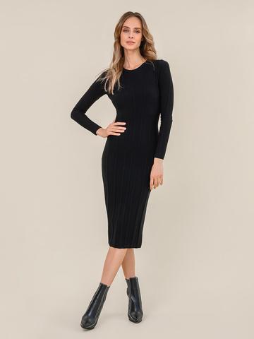 Женское платье черного цвета из шерсти - фото 2
