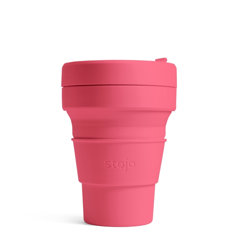 Стакан складной силиконовый Stojo Pocket Cup Peony, 12 oz / 355 мл
