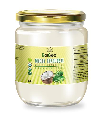 Масло кокосовое холодного отжима BONCOCOS, органика Белое (с мякотью кокоса), 200 мл