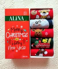 Набор новогодних носков в коробке (5 пар) арт. D02