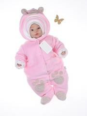 Велюровый комбинезон с шапкой Little Bear розовый