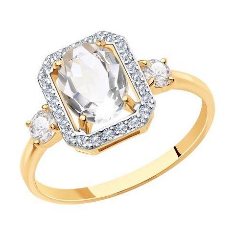 715882 - Кольцо из золота с горным хрусталем и фианитами