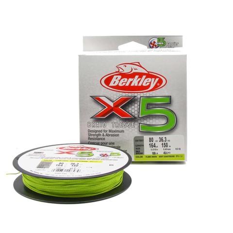 Плетеная леска Berkley X5 150м Ярко-желтая 0,40мм 36,3кг