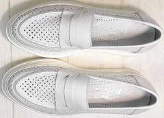 Пенни лоферы белые женские кроссовки из натуральной кожи Derem 372-17 All White.