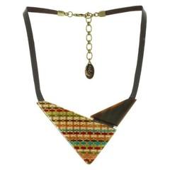 Колье Nature Bijoux Треугольной формы из полированного рога, кожи и ткани