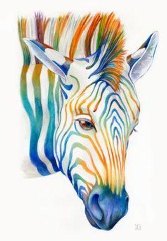 Алмазная Мозаика 20x30 Разноцветная зебра