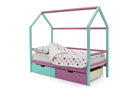 Кровать-домик «Svogen мятный-лаванда»