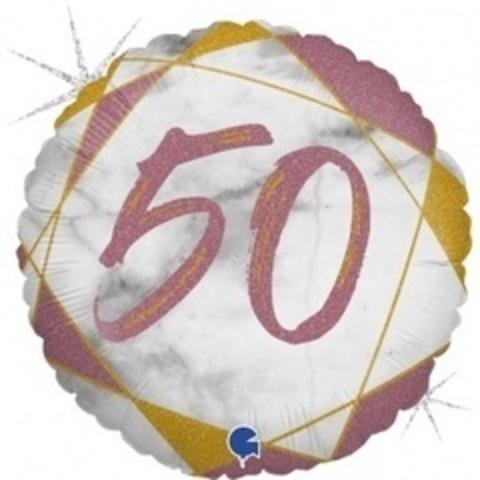 Г Круг 50 Цифра, Мрамор Розовое золото, Голография, 18