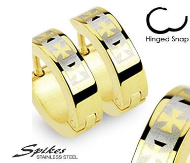 SE2060 Стальные серьги золотистого цвета с крестами. «Spikes»