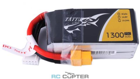 Аккумуляторная батарея Gens Ace 1300mAh 14.8V 75C 4S1P Lipo Battery Pack с разъёмом XT60 с высокой токоотдачей идеально подходит для гоночных квадрокоптеров