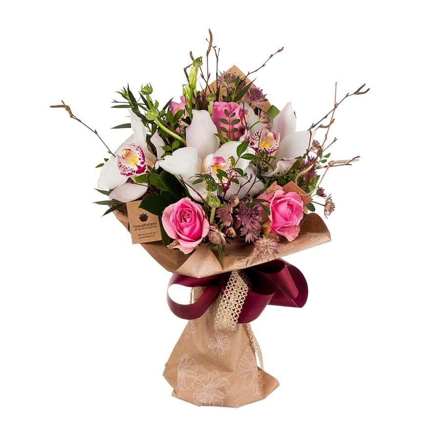 Букет из орхидей и роз - Нежность