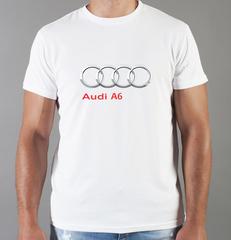 Футболка с принтом Ауди A6 (Audi A6) белая 0056