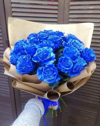 25 синих эквадорских роз #4454