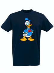 Футболка с принтом мультфильма Дональд Дак (Donald  Duck) темно-синяя 0010