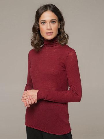 Женская водолазка красного цвета из 100% шерсти - фото 2