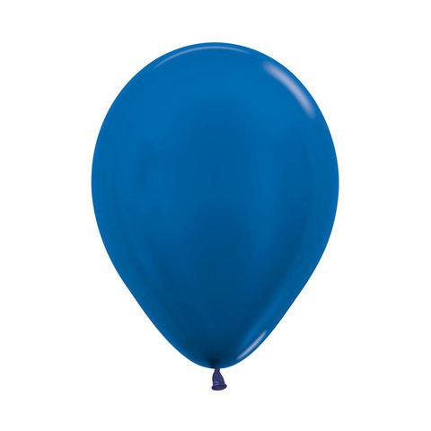Латексный воздушный шар, цвет синий металлик