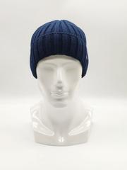 Мужская трикотажная шапка по голове, с отворотом, крупная вязка, синяя